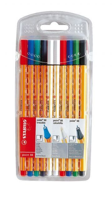 STABILO POINT 88 ERASABLE FINELINER 'WRITE-DELETE-OVERWRITE' ASSORTED SET OF 10